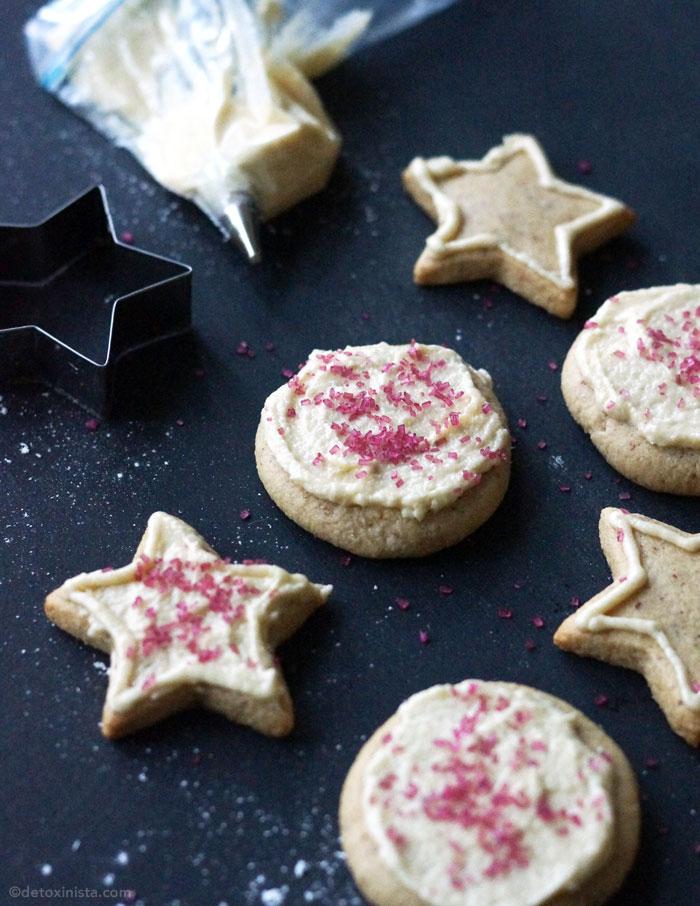 Vegan and paleo iced sugar cookies with sprinkles